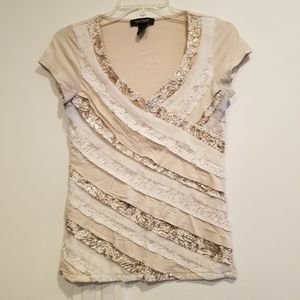 WHBM Cream Lace V Neck Top XS